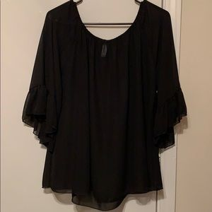 Tops - Beautiful black bell-sleeved sheer blouse.